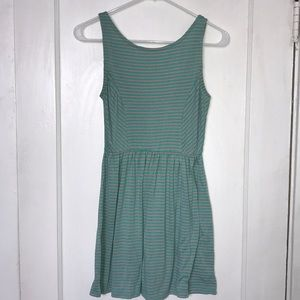 Dresses & Skirts - Green and Pink Stripe Sleeveless Dress